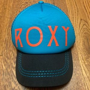 Roxy blue snapback hat with floral under bill
